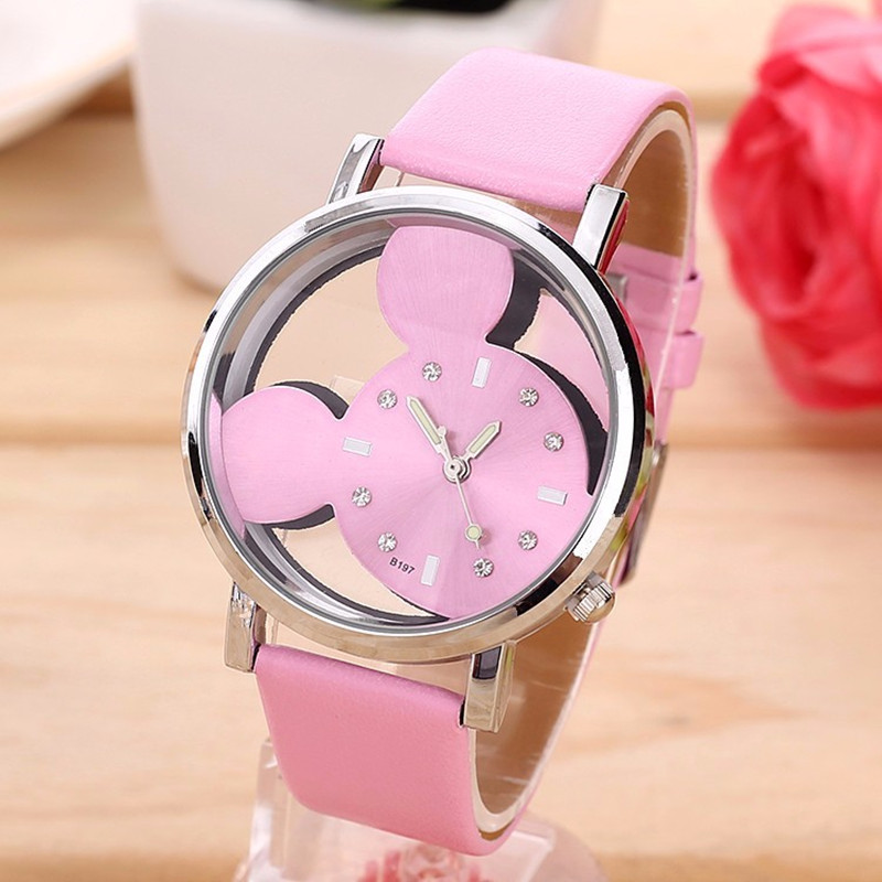 New Fashion Cartoon Mickey Minni Quartz Watches Women Transparent Hollow Dial Leather Women Watch Relogio Feminino