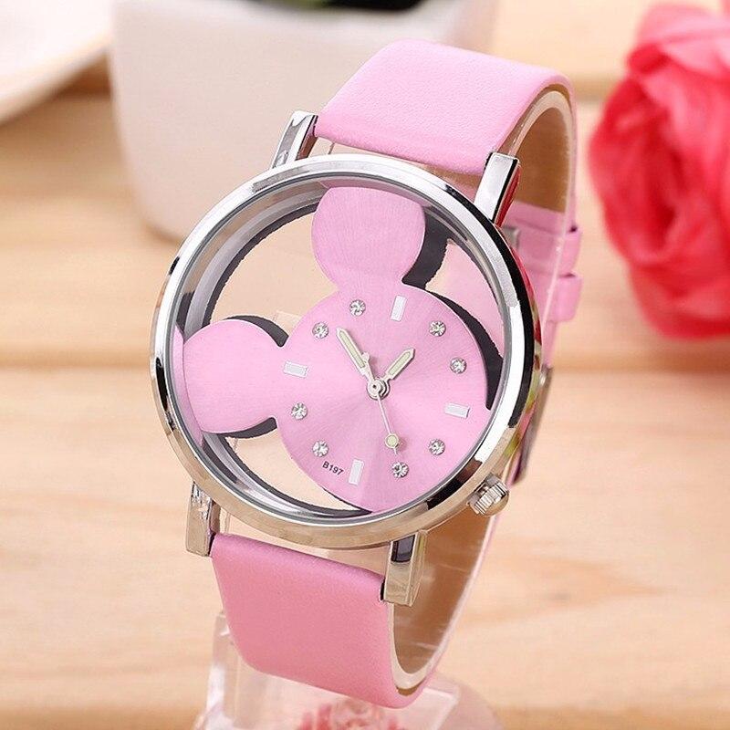 New Fashion Cartoon Mickey Minni Quartz Watches Women Transparent Hollow Dial Leather Women Watch Relogio Feminino