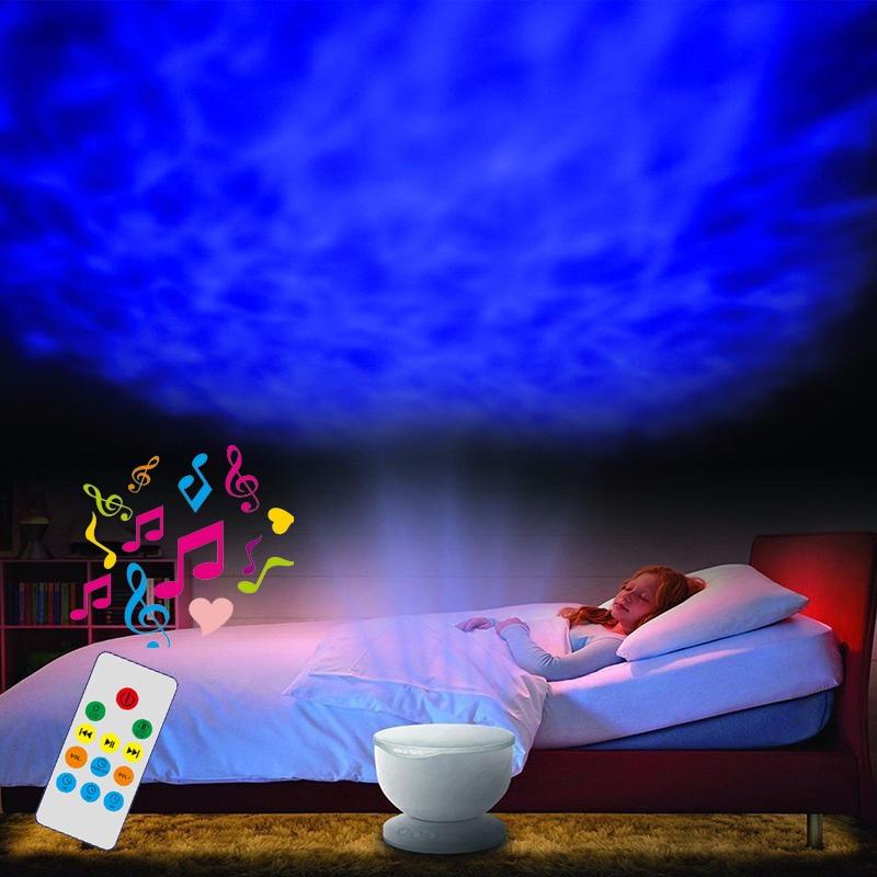 Music Rainbow Wave Projector Lamp & Speakers Daren Waves Led Nightlight Mini-wave Aurora Master Romantic Night Light Lap