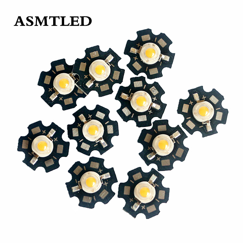 10-1000Pcs <font><b>1W</b></font> 3W High Power Chip Warm white light Bead Emitter <font><b>LED</b></font> Bulb Diodes Lamp Beads with 20mm Star PCB Platine <font><b>Heatsink</b></font> image