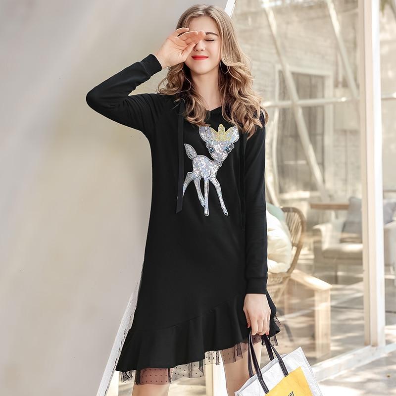 2018 femmes asymétrique douce robe à capuche décontracté Vestido chaud lâche longue Maxi robes Sequin volants Vestidos De Fiesta