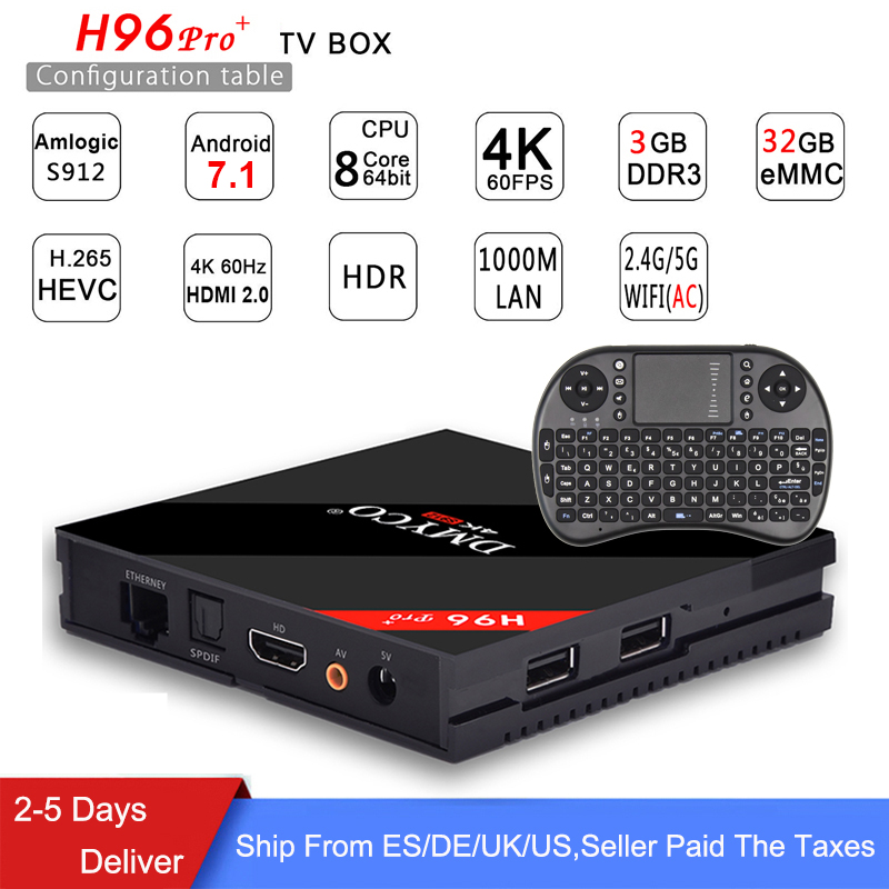 [Genuine] h96 pro plus 3g 32g Smart TV Box Android 7.1 Amlogic S912 OCTA Core Wifi 4K H.265 h96 media player h96pro set top box android tv box h96 pro plus 1pcs i8 keyboard amlogic s912 3gb 32gb quad core 4k wifi h 265 mini pc smart tv box set top box