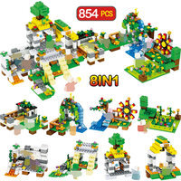 8 in 1 My World Village Farm Town 854pcs Building Blocks Compatible with legoINGLY Minecrafted Figures Bricks Toys For Children
