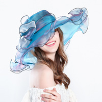 Female Summer New Lace Tulle Hat Ladies Ruffle Flat Roof Big Eaves Bow Knot Bridal Wedding Headpiece Fashion Vintage Bridal Hat