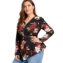 Women's Half Zipper Floral Printed Asymmetrical Blouse