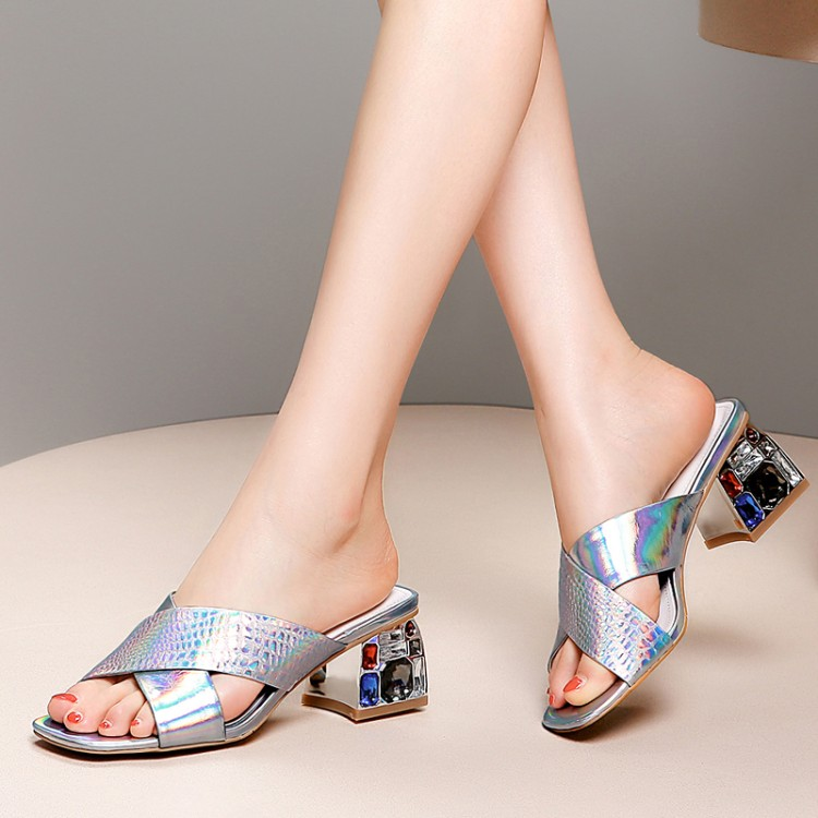 Boda Peep Moda Toe Cuadrado De Silver Calzado Mujer Diapositivas Alta Las Mujeres 2019 Tacones Nuevas Zapatos Sexy Vestido Verano Zapatillas Fiesta PqfZYCwx