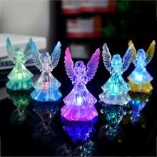 Novelty Angel Shape Night Light 7 Colors Changing Acrylic Crystal Fairy Night Lamp Decoration LED Table Night Light цена