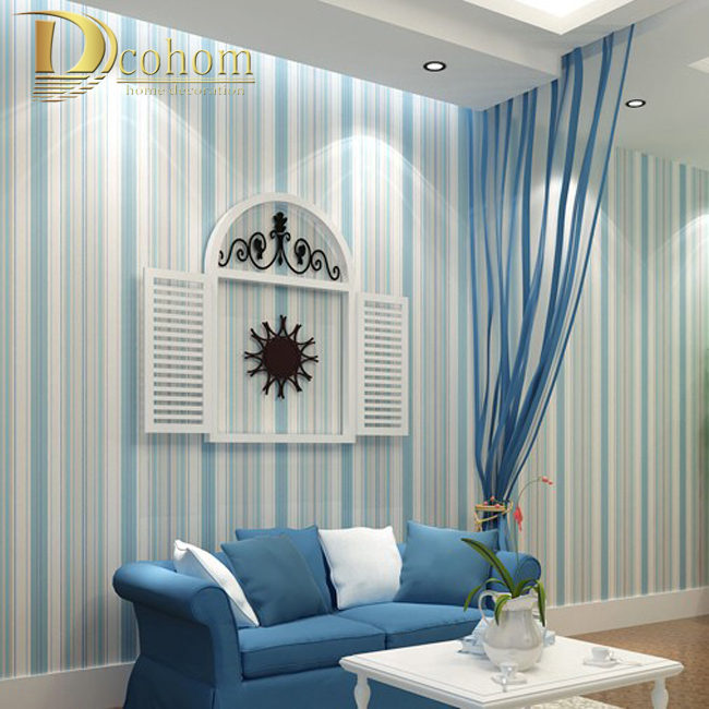 Modern Fashion Horizontal White Blue Striped Wallpaper