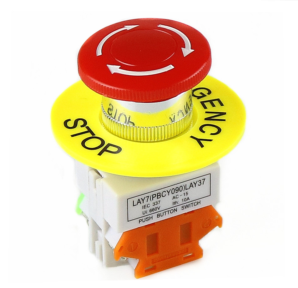 Self Locking Button Box Yellow Explosion-proof Emergency Stop Push 660V 22mm