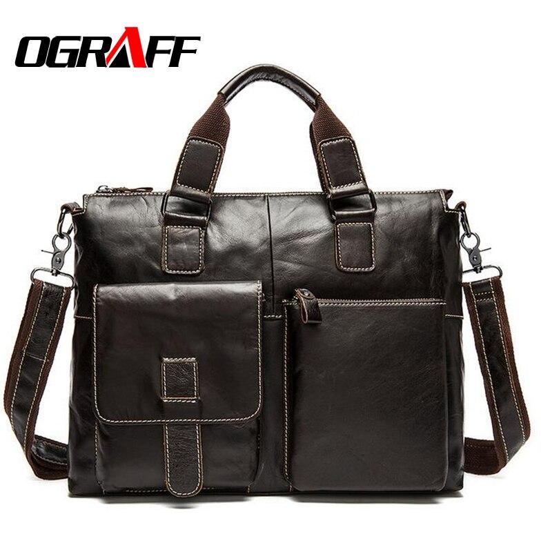 OGRAFF Genuine Leather Bag Men Handbag Designer Briefcase Men Messenger Bag Men Leather Shoulder Bag 2018