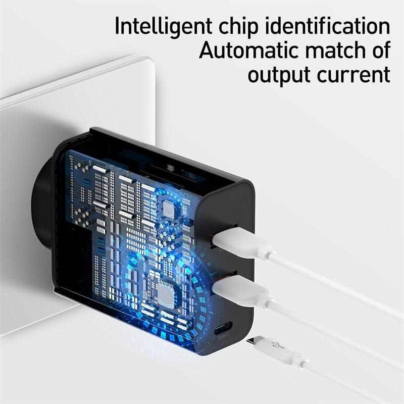 Image 5 - Baseus 3 포트 USB 고속 충전기 60W 지원 빠른 충전 4.0 3.0 Type C PD 충전기 QC 4.0 3.0 HUAWEI Xiaomi 용 전화 충전기-에서휴대폰 충전기부터 전화기 & 통신 의
