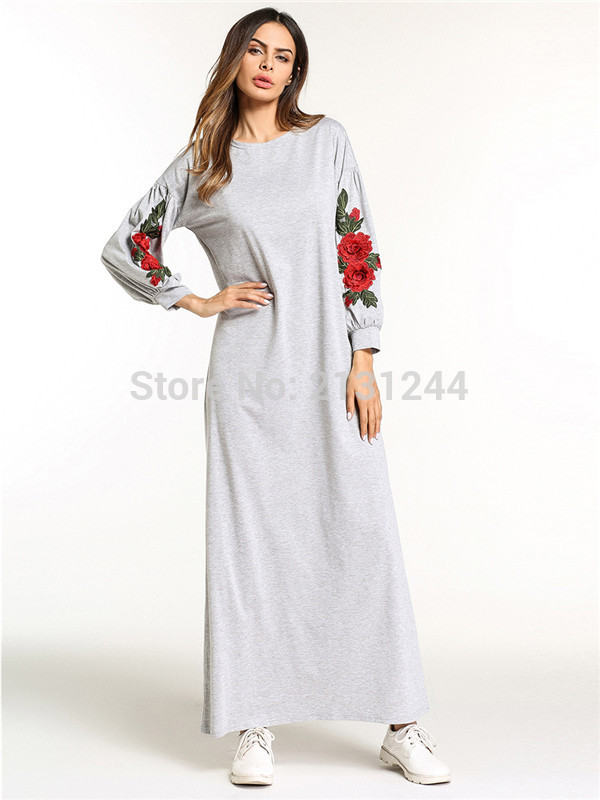Muslim Abaya Embroidery Maxi Dress Cotton Kimono Flower Long Robe Gowns Loose Style Jubah Ramadan Middle East Islamic Clothing
