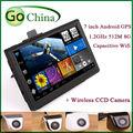 7 pulgadas capacitiva android GPS + CCD cámara de vista trasera inalámbrica, navegación del GPS del coche 1.2 GHz 512 M 8 G FM AV-IN kamera zadnego vida