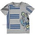 Verano de algodón 2016 de los bebés de la alta calidad tops causal diseño de marca moda chicos camisetas de manga corta para niños carta tops camisetas