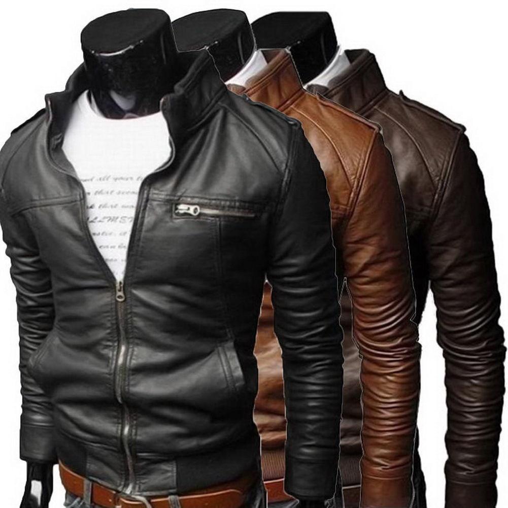 Men Cool Bomber Jackets Men Jacket Winter Collar Slim Fit Motorcycle Leather Jacket Coat Outwear Streetwear
