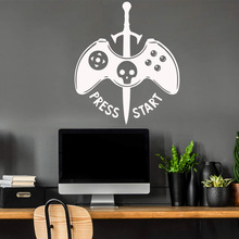 Fashion Press Start Game Wall Stickers Personalized Creative Removable Wall Sticker Room Stickers Decoration Kids Room Mural video game design removable wall stickers for kids room