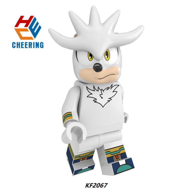 Одиночная продажа костяшки Супер Металл Соник Серебро Ежик Приключения игры строительные пластиковые блоки для чирдренов игрушки подарок KF8043
