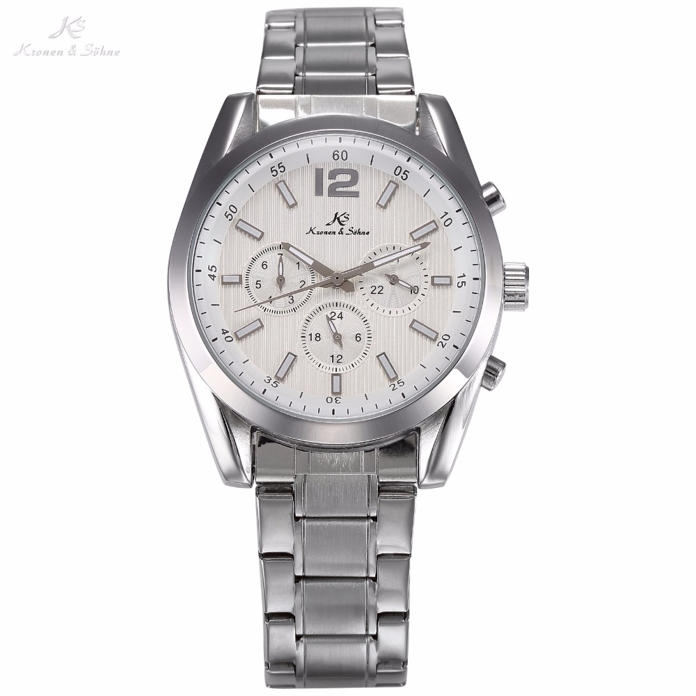 KS White Silver Case Auto Date Day 24 Hours Stainless Steel Band Automatic Mechanical Clock Men Business Dress Wristwatch /KS186 ks brand white gold auto date day 24 hour display black leather male clock wrist automatic self wind men mechanical watch ks246