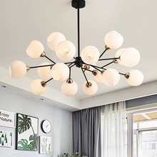 Nordic Creative Chandeliers modern foyer bedroom Grass with black luxury hanging lamp milk white glass ball lampshade droplight
