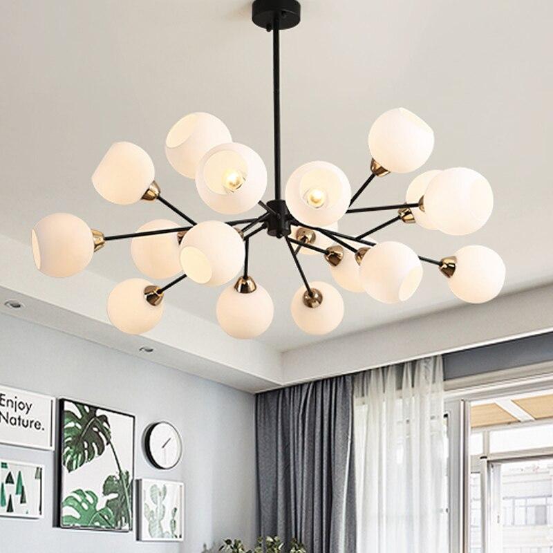 Nordic Criativo Lustres foyer moderno quarto Grama com preto de luxo lâmpada pendurada leite abajur de vidro branco bola droplight