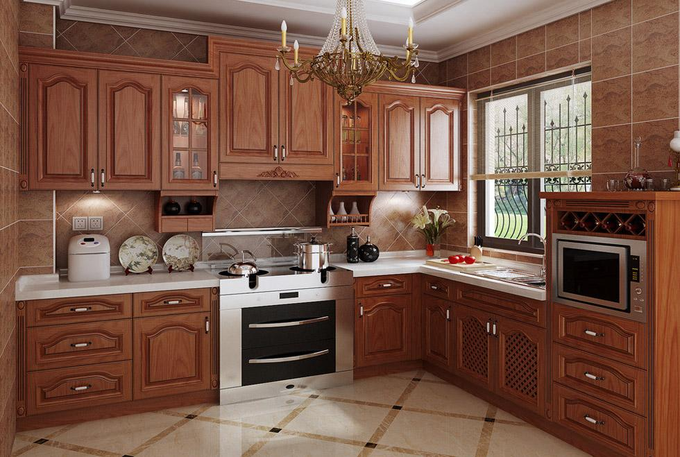 US $650.0 |American red cherry wood kitchen cabinet design K006-in Kitchen  Cabinets from Home Improvement on AliExpress