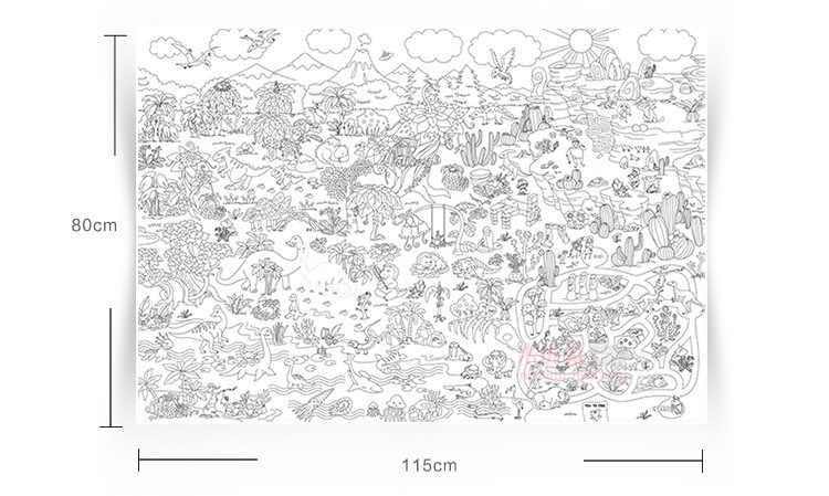 1pc 115*80cm super painter giant coloring poster drawing educational toys  for kids and children Free shipping and drop shipping