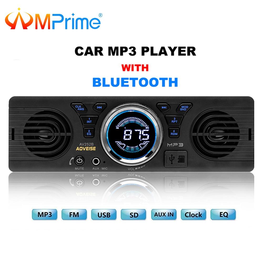 AMprime Auto Radio AV252B Universal 1 din In-dash MP3 Audio Player Eingebauter Lautsprecher Stereo FM Unterstützung Bluetooth Aux USB/TF Karte