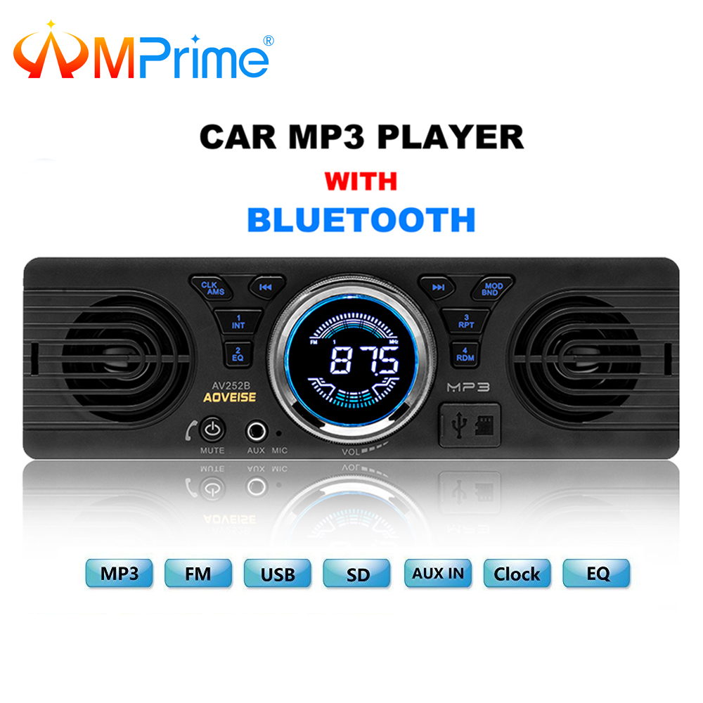 AMprime Car Radio AV252B Universal 1 din In-dash MP3 Audio Player Built-in Speaker Stereo FM Support Bluetooth Aux USB/ TF Card motorcycle mp3 player motobike alarm audio speaker alarm system theft mp4 player tf card usb aux moto fm radio stereo amplifier