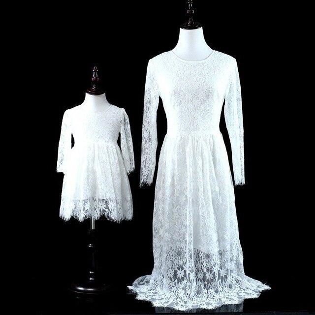Mutter Tochter Kleider hochzeitskleid Spitze Weiß Prinzessin Mama ...