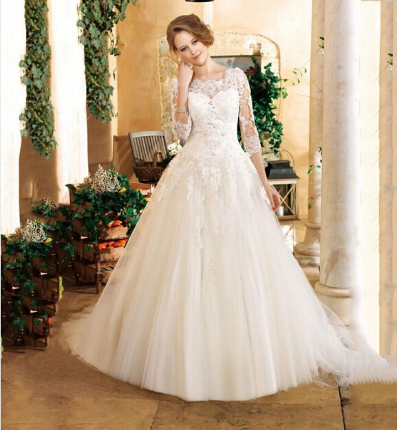 2016 New 3/4 Sleeve Wedding Dresses Lace Appliques Tulle A