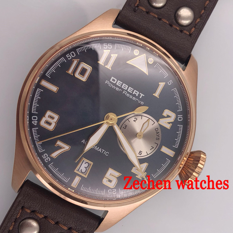 Debert 42mm watch mens watch Power Reserve Sapphire Glass blue or black Dial Automatic Men's Watch цена и фото
