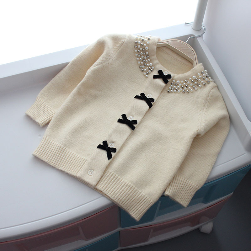 Image 4 - Christmas Jacket for Girls Sweater Autumn Winter Cardigan Woolen  Children Sweater Knitted Bow Pearl Girls Clothes Outerwear-in Sweaters from Mother & Kids