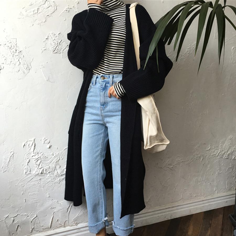 Harajuku Chaqueta larga de mujer 2018 de Moda de Primavera de largo de punto de las mujeres, suéter de gran Casual abrigo negro chaqueta ropa de invierno suéter