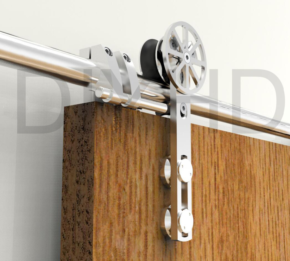 Barn door hardware shop and buy online - Diyhd 5ft 13ft Stainless Steel Sliding Barn Wood Door Hardware Movable Spoke Wheel Brushed Barn