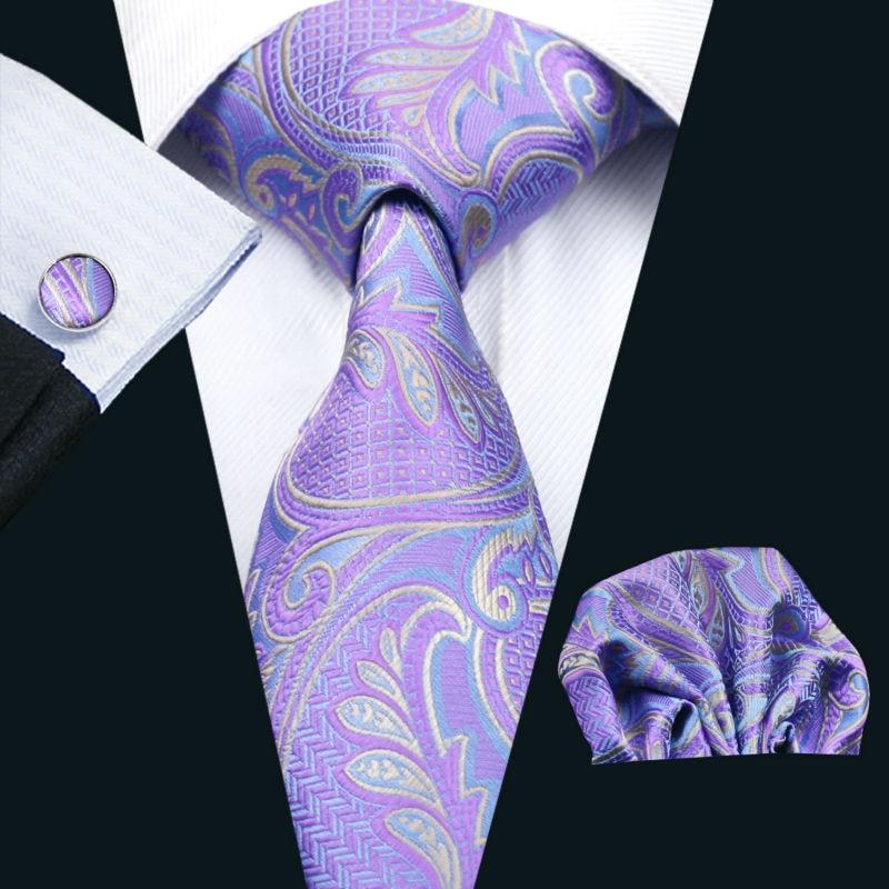 LS-364 Hot New Men`s Tie Paisley 100% Silk Jacquard Woven Gravata Tie Hanky Cufflink Set For Men Formal Wedding Party Business