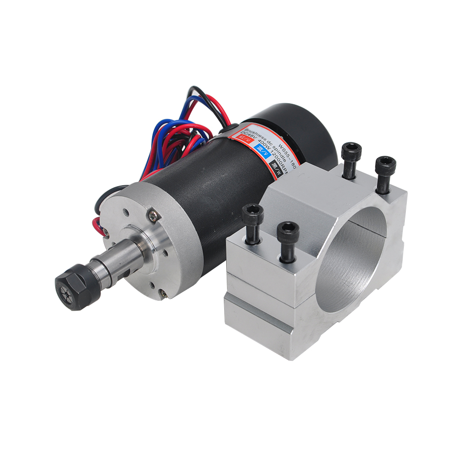 400W Air Cooled Spindle Motor DC Brushless Spindle ER11 With 55MM Clamp Mounting Bracket For CNC Engraver Milling Machine400W Air Cooled Spindle Motor DC Brushless Spindle ER11 With 55MM Clamp Mounting Bracket For CNC Engraver Milling Machine