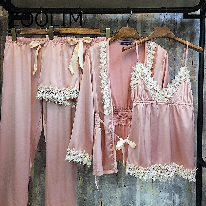 2018 Ladies Sexy Silk Women Satin Sleepwear Lace Robe+Nightdress+Top+Pant 4 Pieces Fashon Pajamas Set Nightwear Homewear Pyjama
