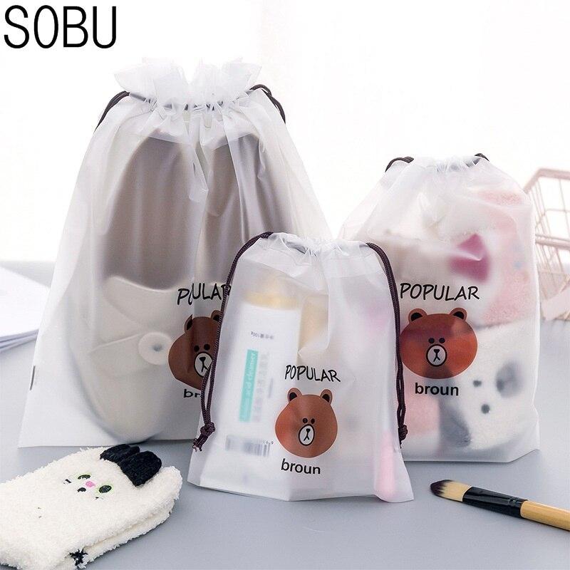 3pcs Bear Transparent Cosmetic Bag Travel Makeup Case Women Make Up Bath Organizer Storage Pouch Toiletry Wash Beaut Kit 8
