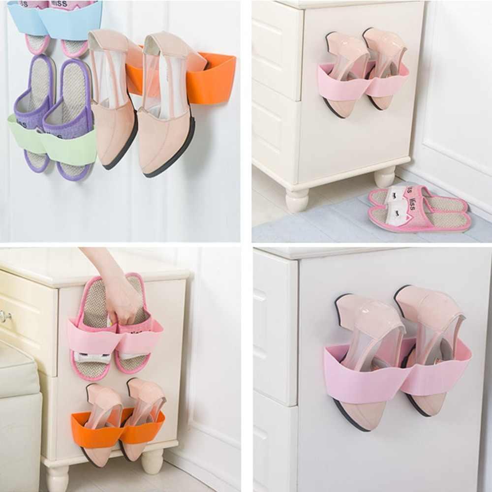 Do ściany przyklejony na buty stojak na buty przechowywania wiszące uchwyt na buty Organizer akcesoria pionowe regał do przechowywania z półkami salon łazienka