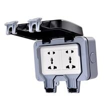 цена на Waterproof Dustproof Wall Switch Socket Two Multi-function Six Hole Double Socket  UK/EU/AU/US Socket Outdoor