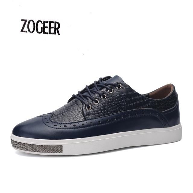 Sapatos Brogue Dos Homens Em Relevo Botas De Couro Rendas Até Ankle Boots Britânico Homens Sapatos Flats Vestido de Negócios Crocodilo Oxfords Sapatos Masculinos