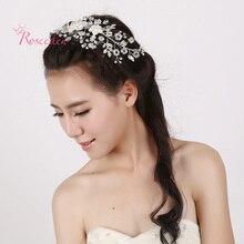 Novia hechos a mano elegante Rhinestone Pure White Rose flores postizo boda los pernos de pelo Paillettev diseño de cabello peine RE275