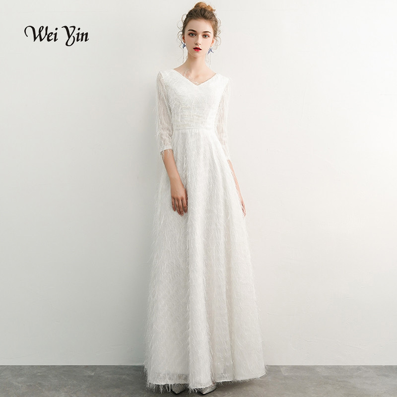 weiyin White Sexy Women Lace Evening Dress 2019 Dubai Turkish Arabic Sexy Long  Sleeves Formal Prom Party Dresses WY1086 aae1184124b5