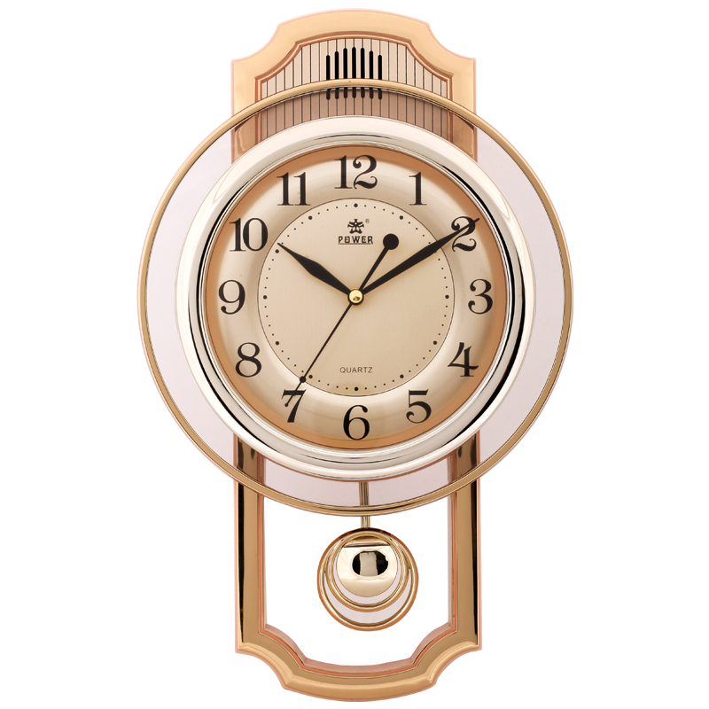 17 inch Silent livingroom Large Wall Clock 16 Melodies Hourly Music and striking Auto stopped in night  Mute clocks gold metal duvar saati