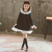 2018 Autumn Girls Dress  Korean style fashion Kids long sleeve dress velvet clothing girls stitching lace girls kid velvet dress