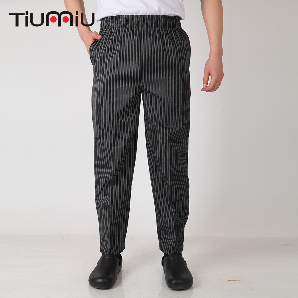 Men Black Stripe Pants Wholesale Restaurant Kitchen Food Service Bakery Coffee Shop Sush ...