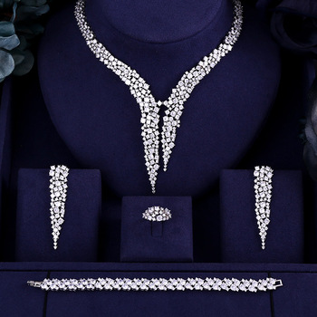 JaneKelly Luxury Sparking Brilliant Cubic Zircon Drop Earring Necklace Heavy Dinner Jewelry Sst Wedding Bridal jewelry sets