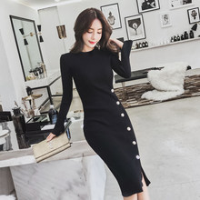 HAMALIEL High Quality Women Knitted Sheath Split Dress Autumn Winter Black Full Sleeve Bodycon Side Single Breasted Pencil Dress(China)