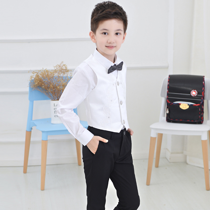 Flowers Boys Formal Suit Wedding campus student Dress Gentleman Kids Waistcoat Shirt Pant Bowtie 4Pcs ceremony Costumes in Clothing Sets from Mother Kids
