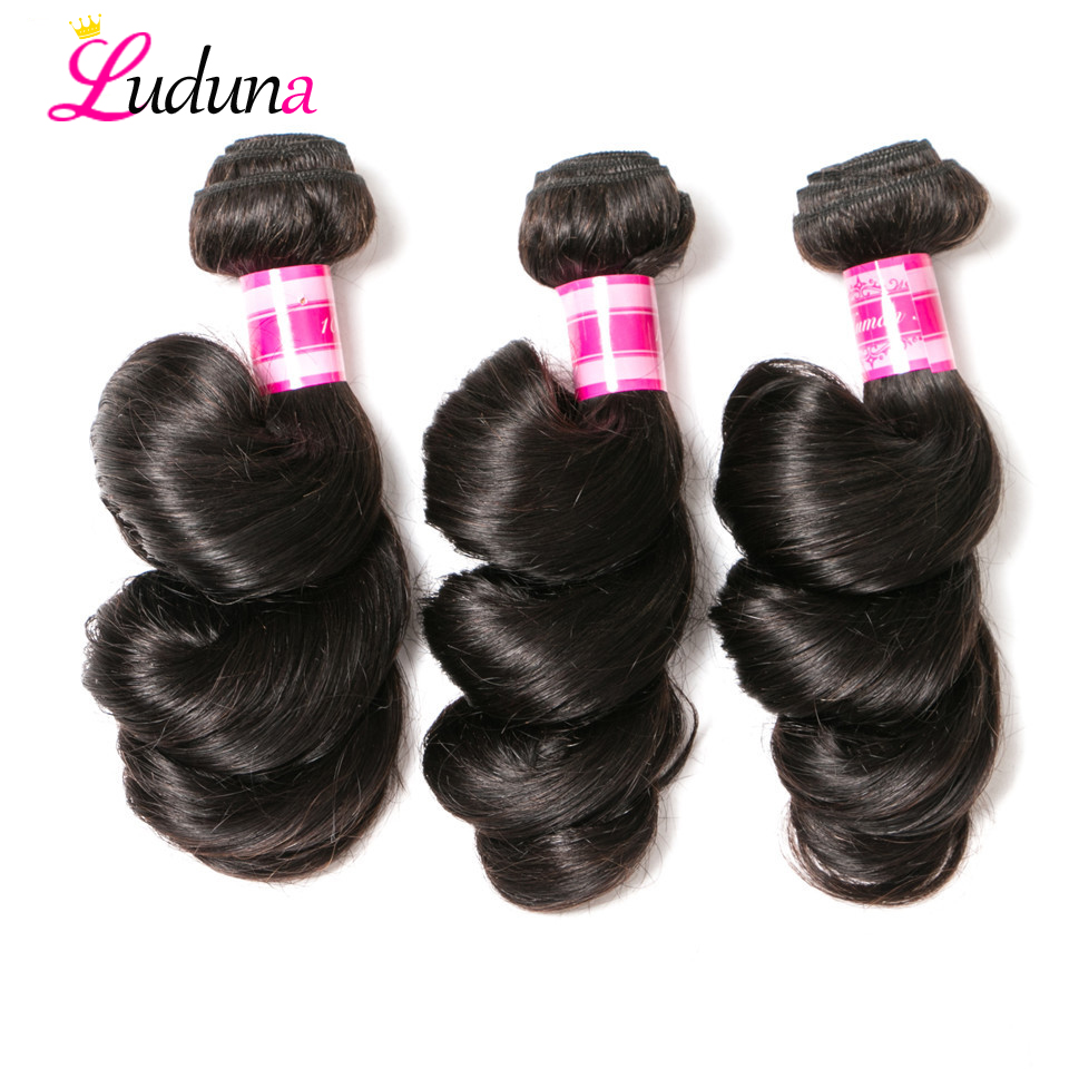 Luduna Loose Wave Bundles Brazilian Hair Bundles Human Hair Extensions 3 Bundles Deals Non Remy Hair